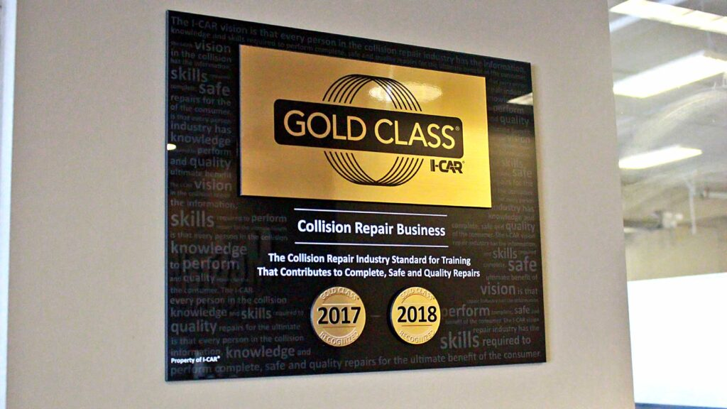 I-Car Gold Class plaque